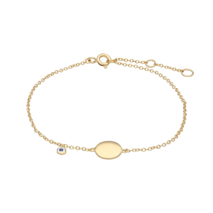 Sapphire Engravable Bracelet in Yellow Gold Plated Sterling Silver