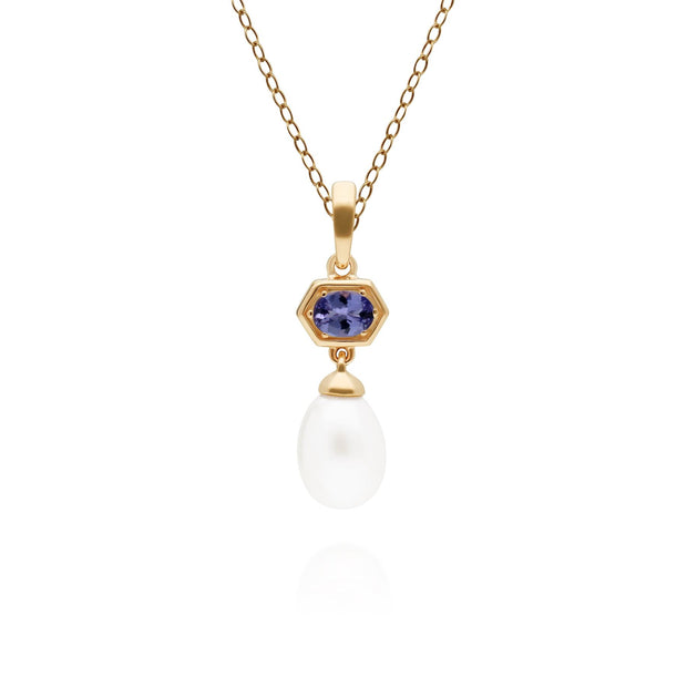 Modern Pearl & Tanzanite Hexagon Drop Pendant in Gold Plated Sterling Silver