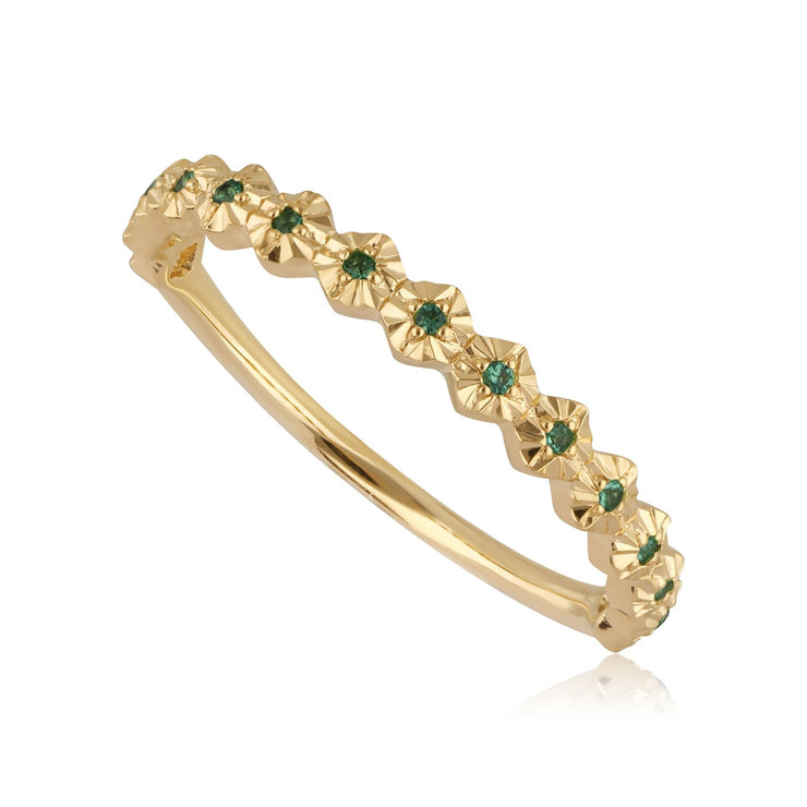 9ct Yellow Gold 0.045ct Emerald Band Ring