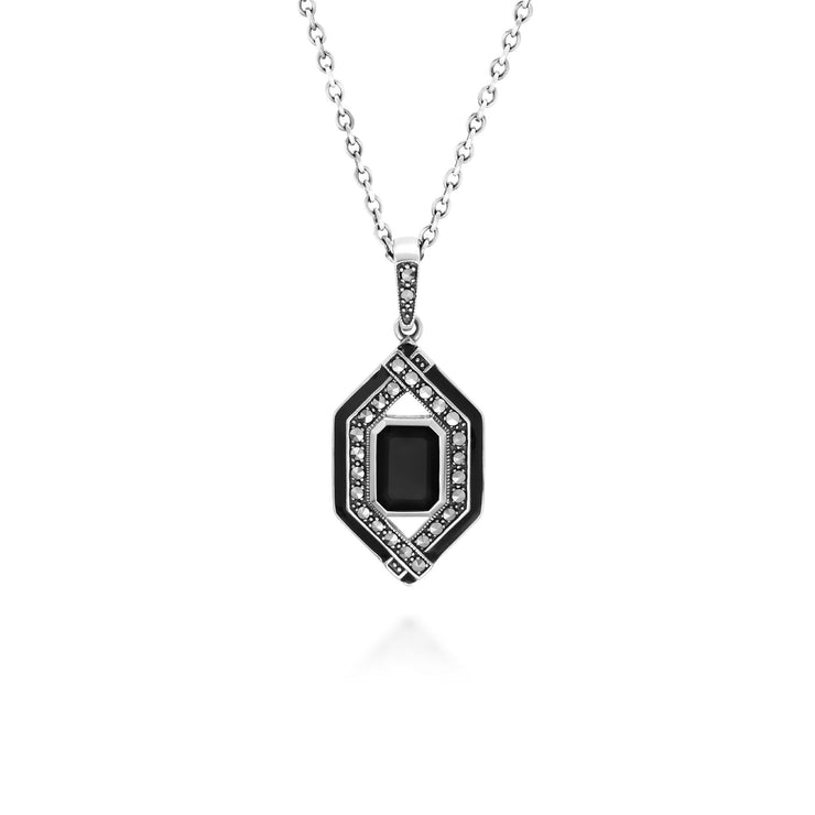 Art Deco Inspired Black Spinel, Enamel & Marcasite Necklace