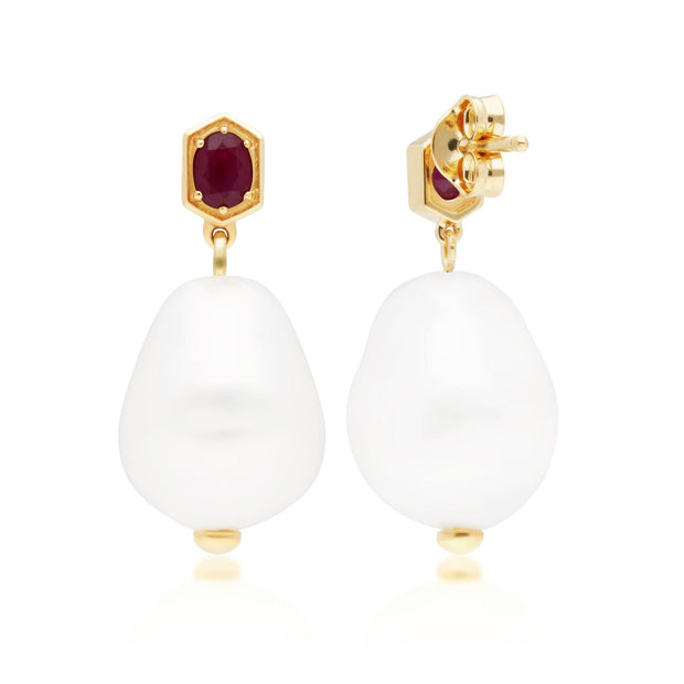 Modern Baroque Pearl & Ruby Drop Earrings in Gold Plated Sterling Silver