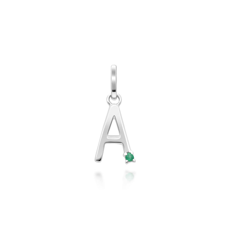 Initial A Emerald Letter Necklace in 9ct White Gold