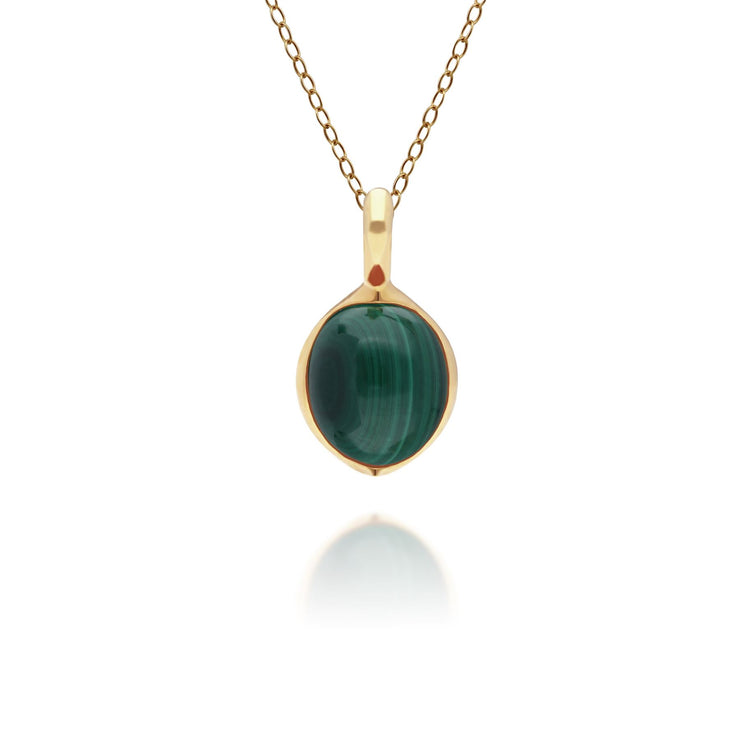 Irregular B Gem Malachite Pendant in Gold Plated Sterling Silver