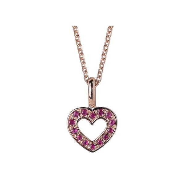 Rose gold plated sterling silver ruby heart pendant