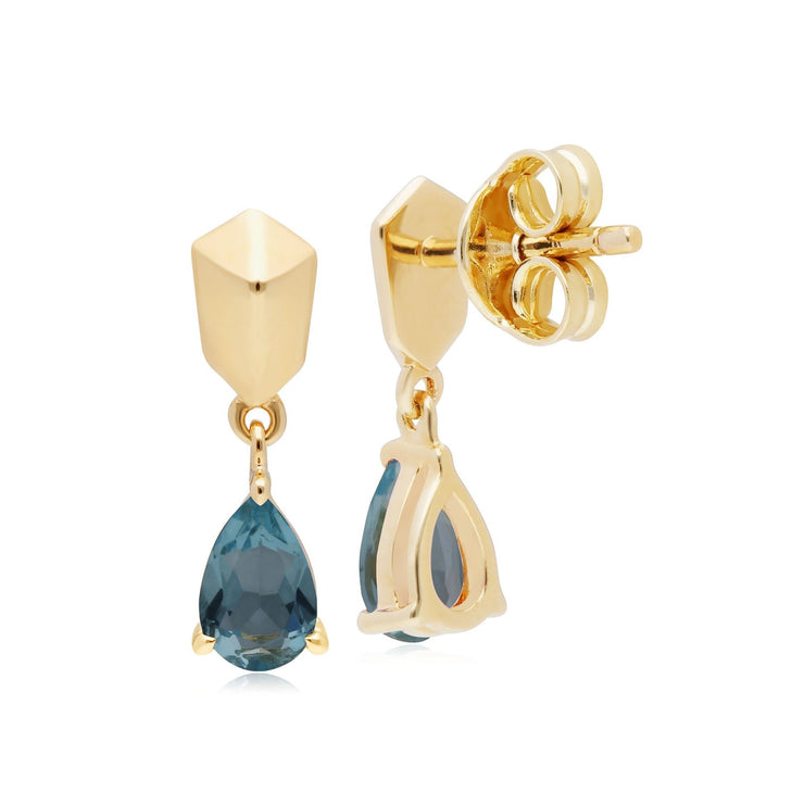 Micro Statement Topaz Earrings in Gold Plated 925 Sterling Silver