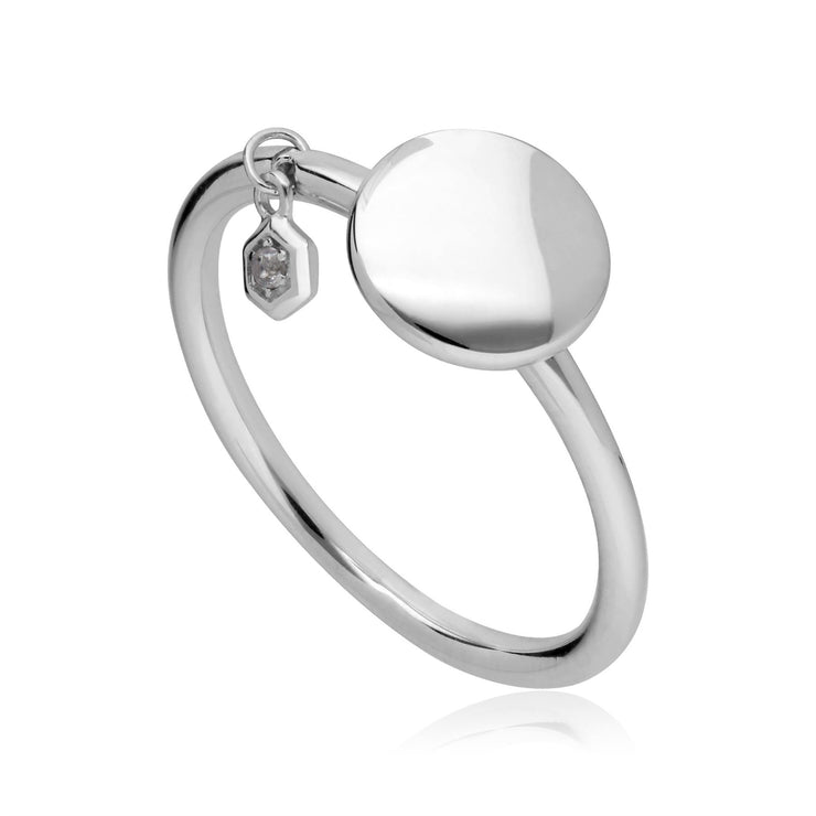 White Topaz Engravable Ring in Sterling Silver
