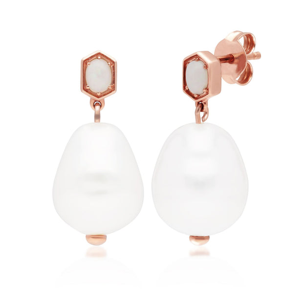 Modern Baroque Pearl & Opal Drop Earrings in Rose Gold Plated Sterling Silver