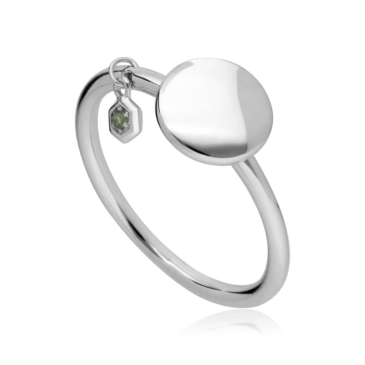 Peridot Engravable Ring in Sterling Silver