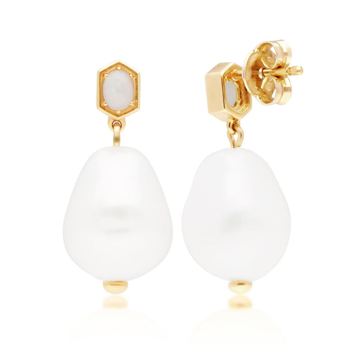 Modern Baroque Pearl & Opal Drop Earrings in Gold Plated 925 Sterling Silver