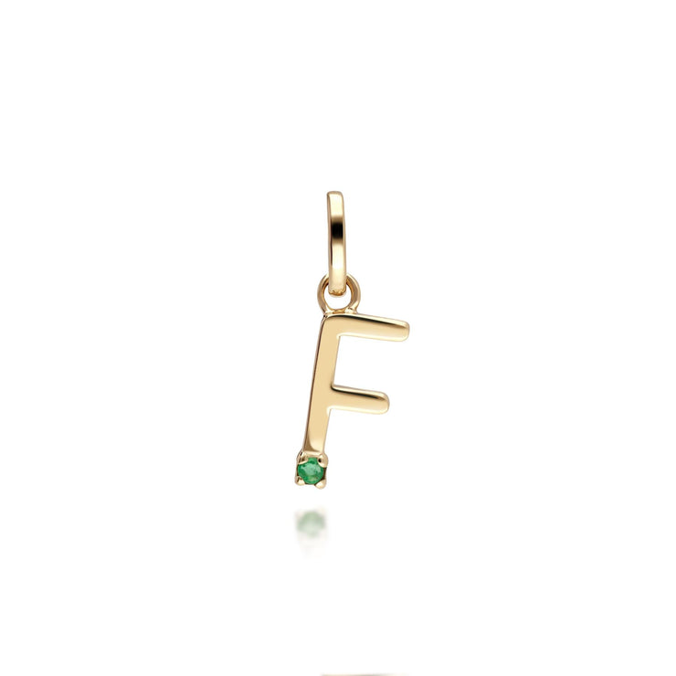 Initial F Emerald Letter Charm in 9ct Yellow Gold