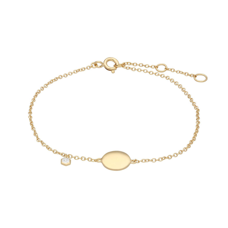 White Topaz Engravable Bracelet in Yellow Gold Plated Sterling Silver