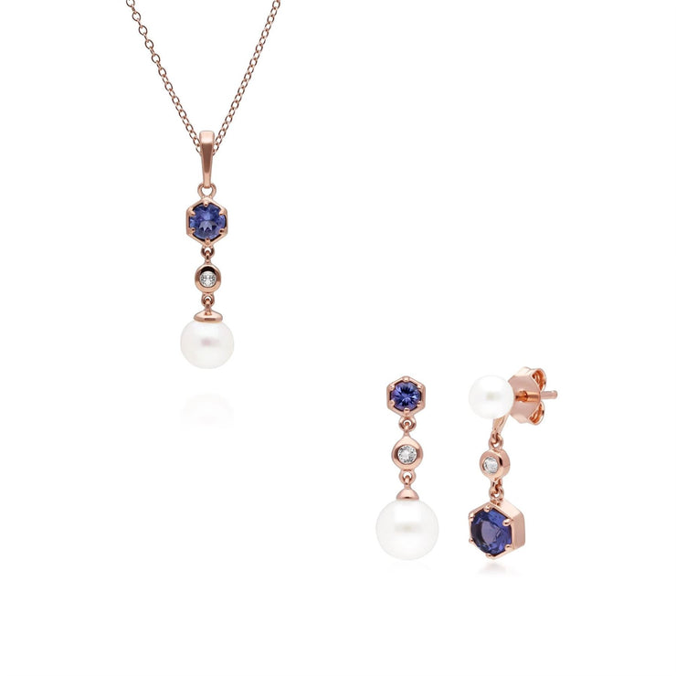 Modern Pearl, Tanzanite & Topaz Pendant & Earring Set in Rose Gold Plated Sterling Silver