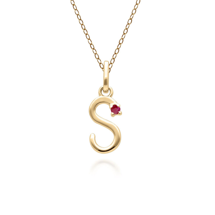 Initial S Ruby Letter Necklace in 9ct Yellow Gold