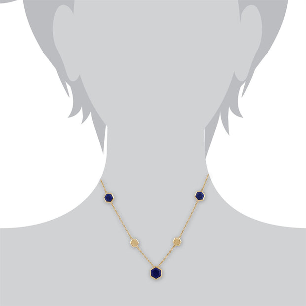 Geometric Hexagon Lapis Lazuli Necklace in Gold Plated Silver