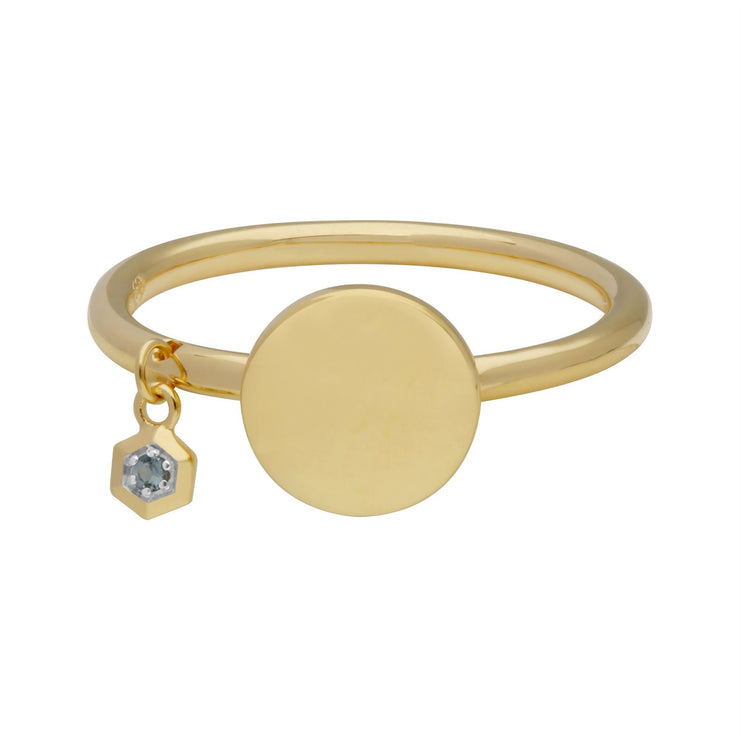 Aquamarine Engravable Ring in Yellow gold Plated Sterling Silver