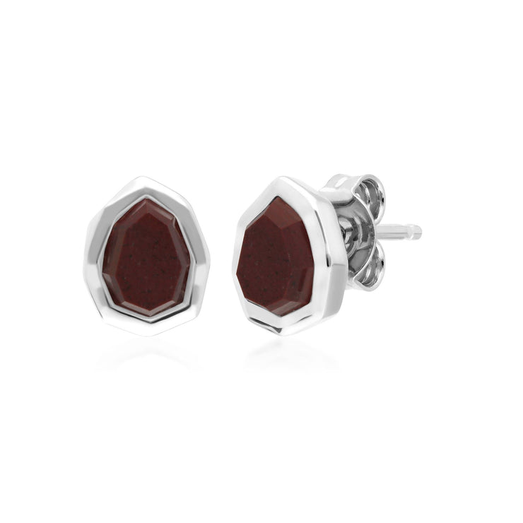 Irregular B Gem Red Jasper Stud Earrings in 925 Sterling Silver