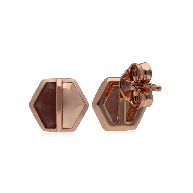 Micro Statement Rhodochrosite Hexagon Stud Earrings in Gold Plated 925 Sterling Silver