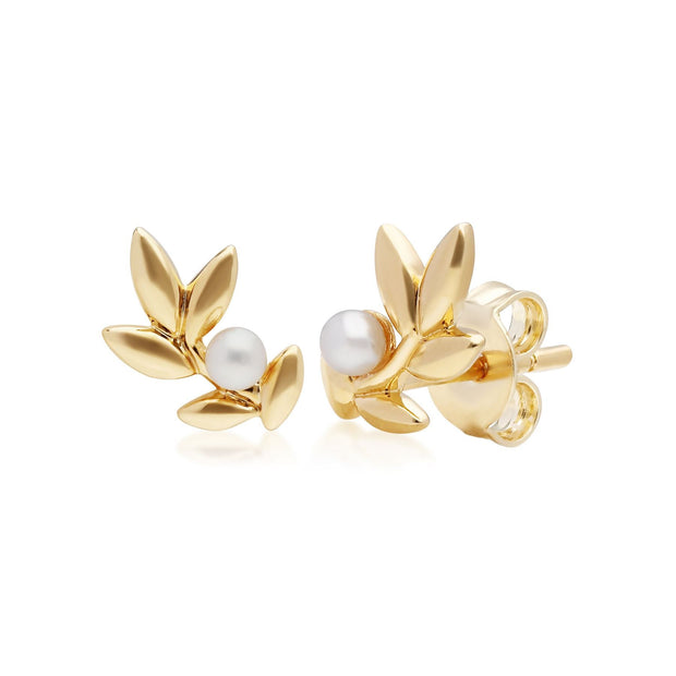 O Leaf Pearl Pendnat & Stud Earring Set in Gold Plated 925 Sterling Silver