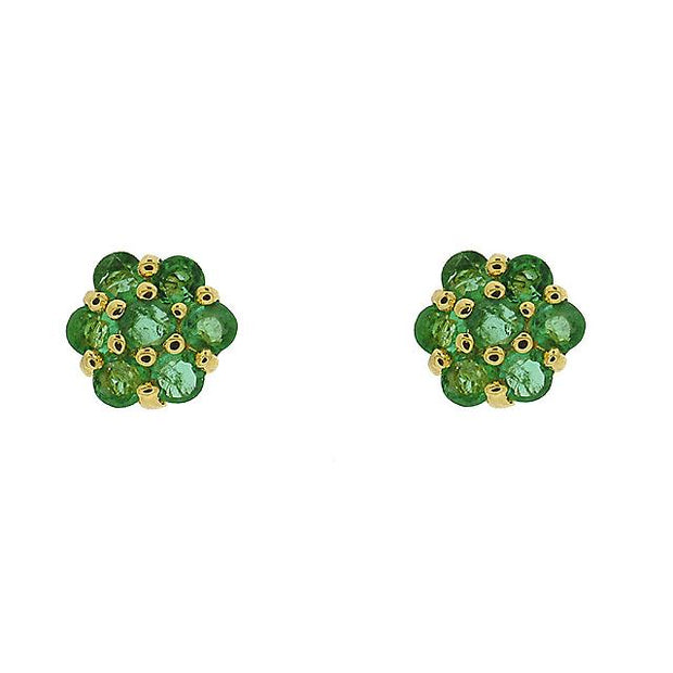 9ct Yellow Gold 0.46ct Emerald Flower Design Cluster Stud Earrings Image