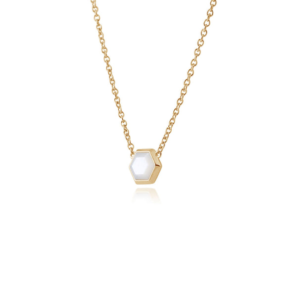 Geometric Hexagon Mother of Pearl Necklace in Gold Plated Silver