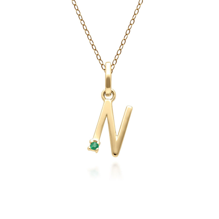 Initial N Emerald Letter Necklace in 9ct Yellow Gold