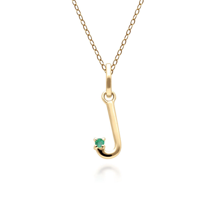Initial J Emerald Letter Necklace in 9ct Yellow Gold