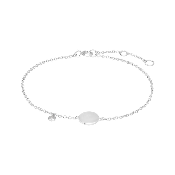 White Topaz Engraving Bracelet in 925 Sterling Silver