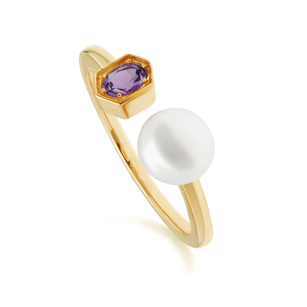 Modern Pearl & Amethyst Open Ring in Gold Plated Sterling Silver