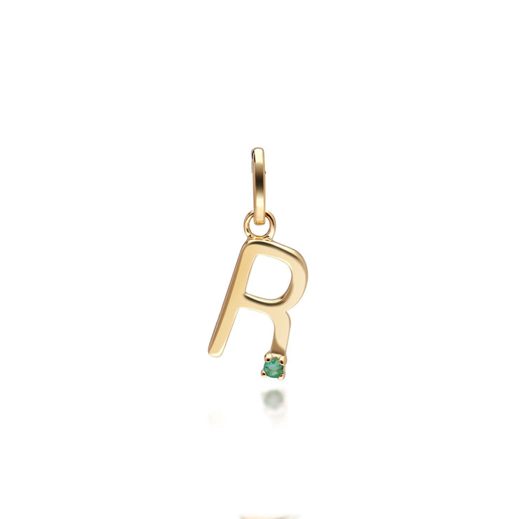 Initial R Emerald Letter Charm in 9ct Yellow Gold