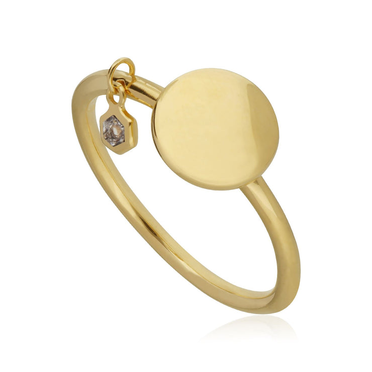 White Topaz Engravable Ring in Yellow Gold Plated Sterling Silver