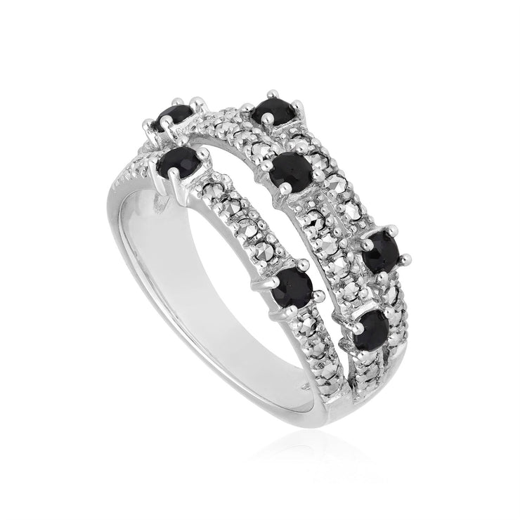 Kosmos Black Sapphire and Marcasite Fashion Ring in Sterling Silver