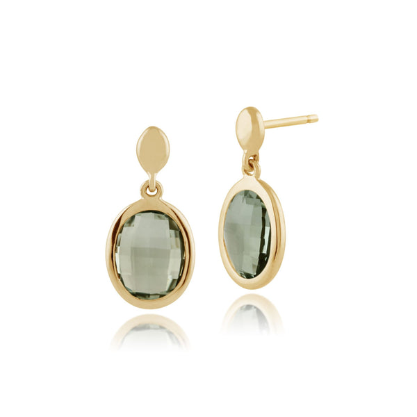 Gemondo 9ct Yellow Gold 2.4ct Mint Green Quartz Drop Earrings