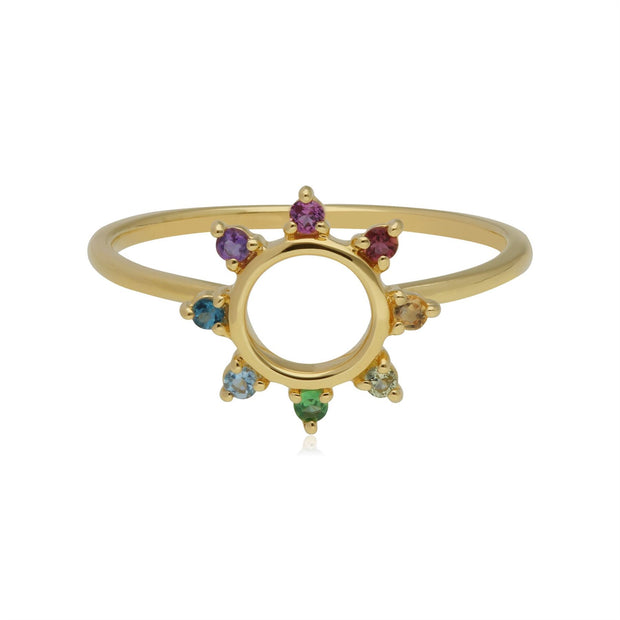 Rainbow Sunburst Ring in Gold Plated Sterling Silver