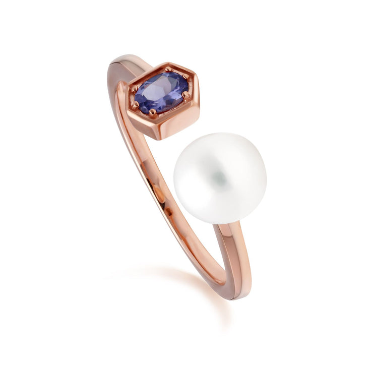 Modern Pearl & Tanzanite Open Ring in Rose Gold Plated Sterling Silver