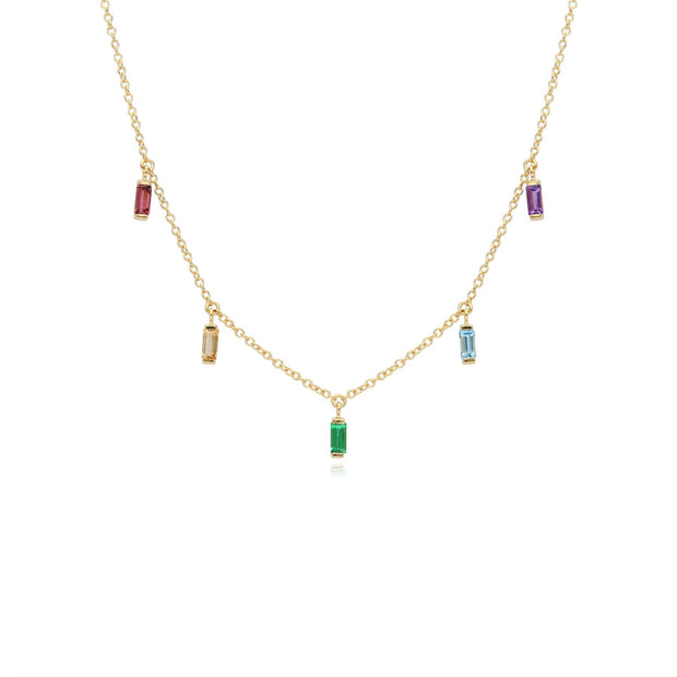 Rainbow Choker Necklace in Gold Plated Sterling Silver