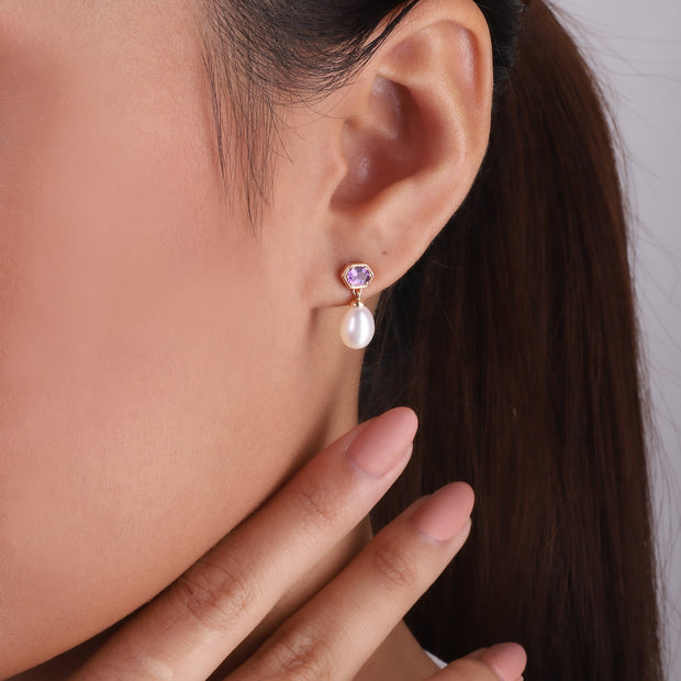 Modern Pearl & Amethyst Mismatched Drop Earrings in Rose Gold Plated Sterling Silver