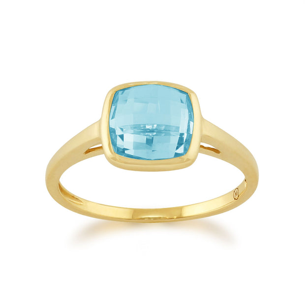 Gemondo 9ct Yellow Gold 2.50ct Square Blue Topaz Ring