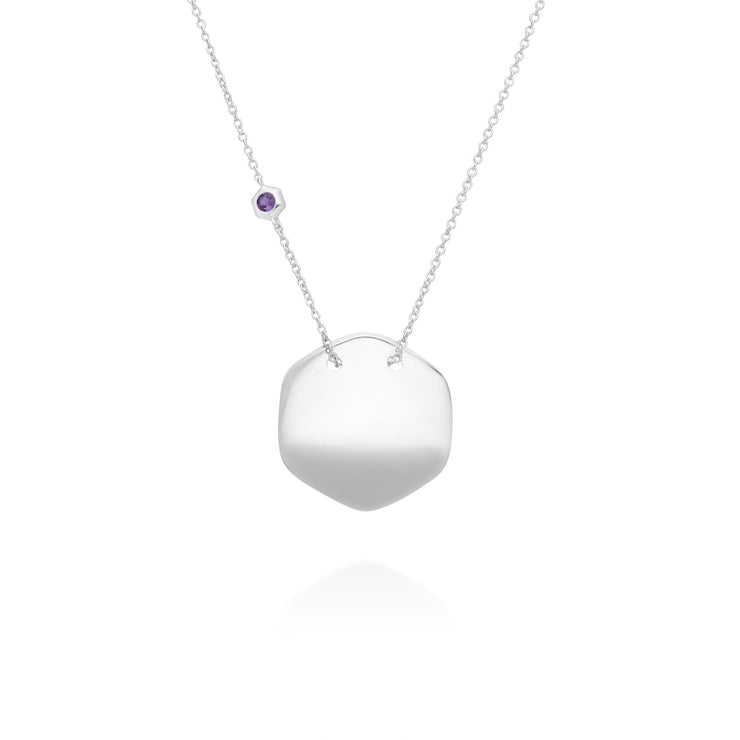 Amethyst Engraving Necklace in 925 Sterling Silver