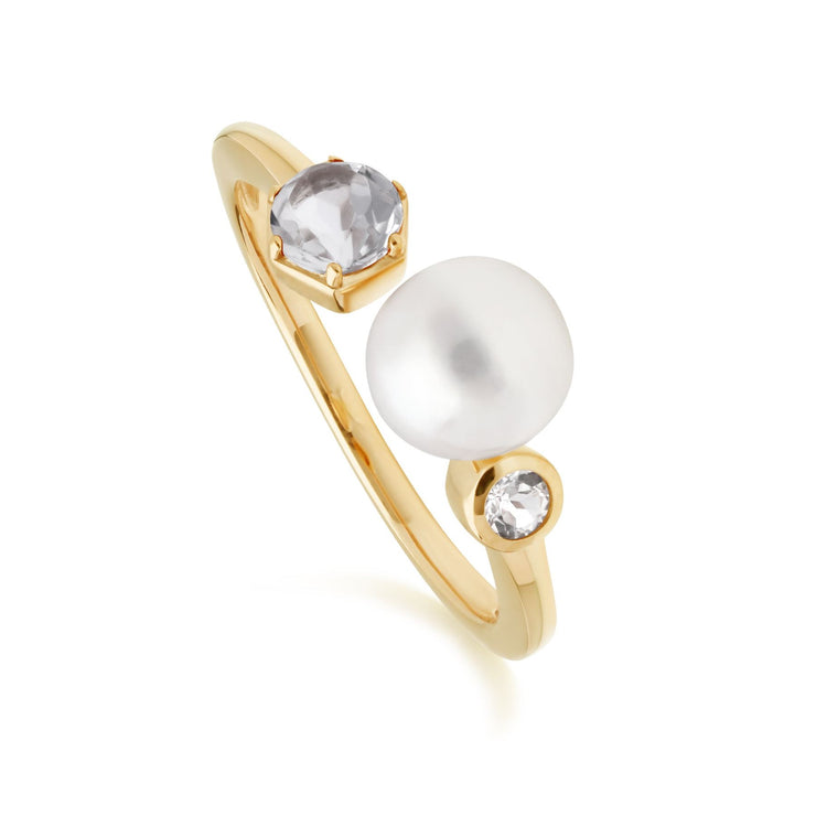 Modern Pearl & White Topaz Open Ring in Gold Plated Sterling Silver