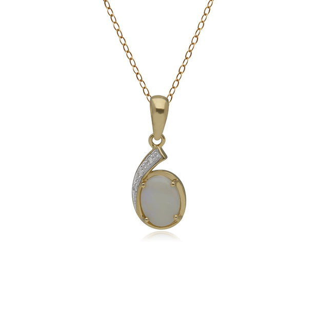 Classic Oval Opal & Diamond Pendant in 9ct Yellow Gold