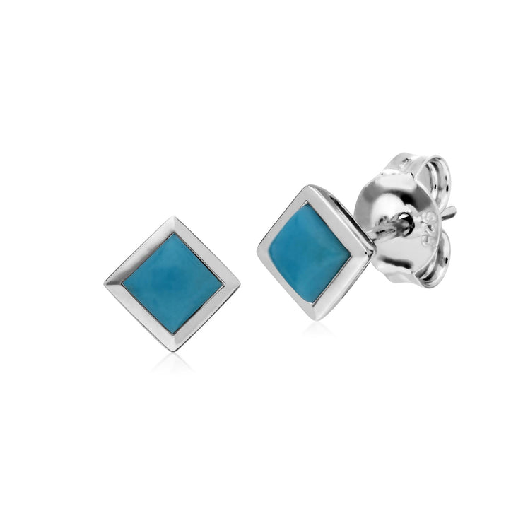 Classic Square Turquoise Bezel Stud Earrings in 925 Sterling Silver