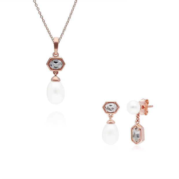 Modern Pearl & Tanzanite Pendant & Earring Set in Rose Gold Plated Sterling Silver
