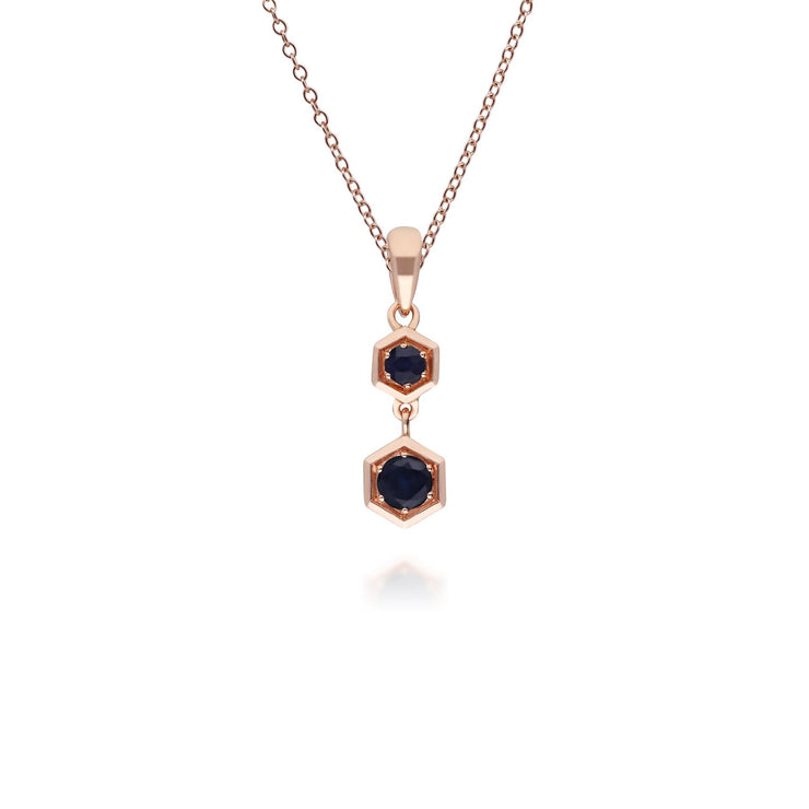 Honeycomb Inspired Sapphire Pendant Necklace in 9ct Rose Gold