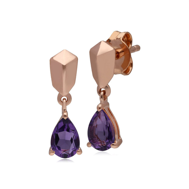 Micro Statement Amethyst Earrings in Rose Gold Plated 925 Sterling Silver