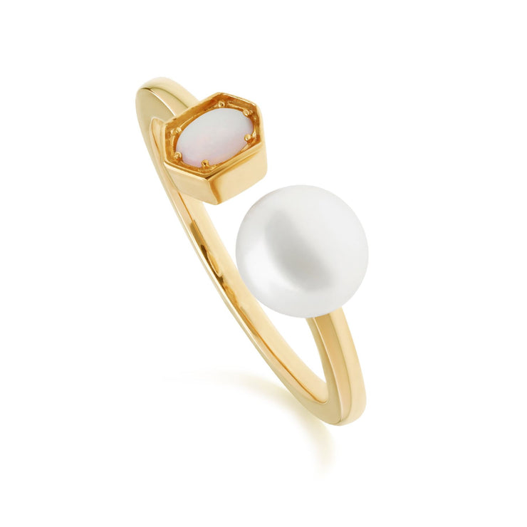 Modern Pearl & Opal Open Ring in Gold Plated Sterling Silver
