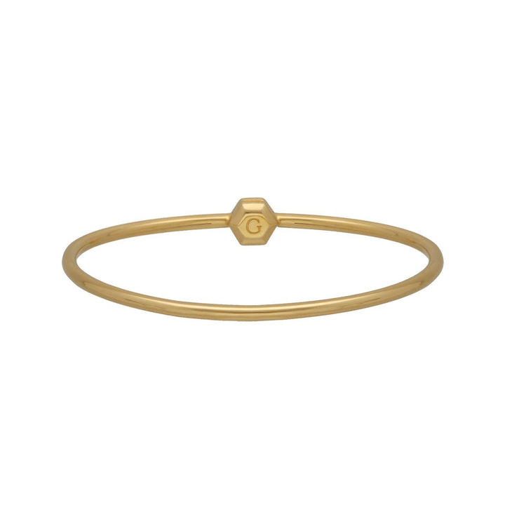 HS Achievement Bangle in Gold Plated Sterling Silver Medium