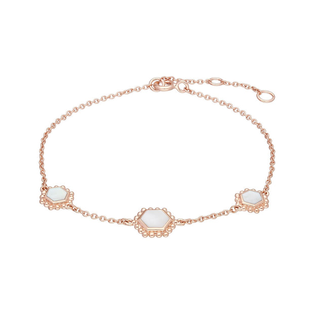 Mother of Pearl Slice Chain Bracelet in Rose Gold Plated Sterling Silver