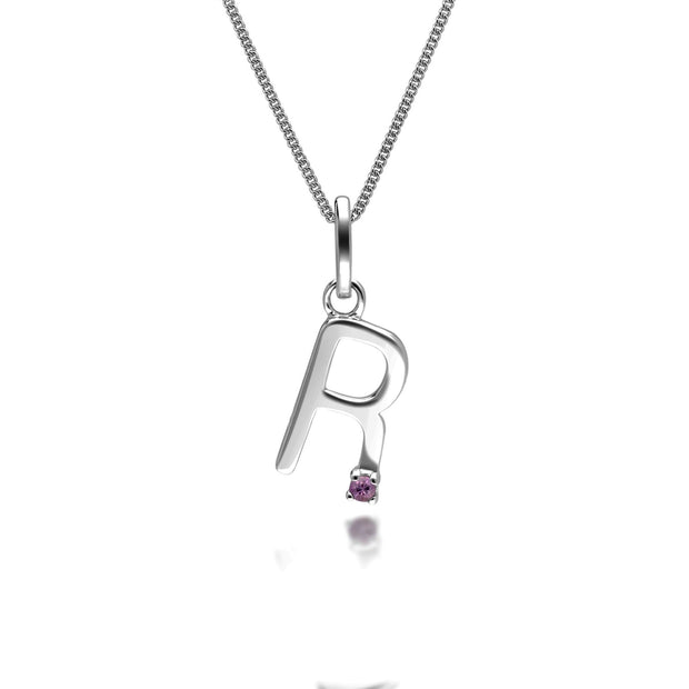 Initial R Pink Sapphire Letter Charm Necklace in 9ct White Gold