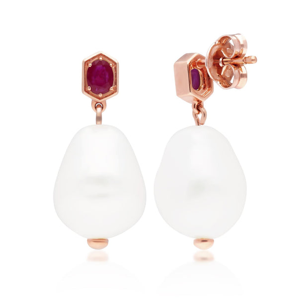Modern Baroque Pearl & Ruby Drop Earrings in Rose Gold Plated Sterling Silver