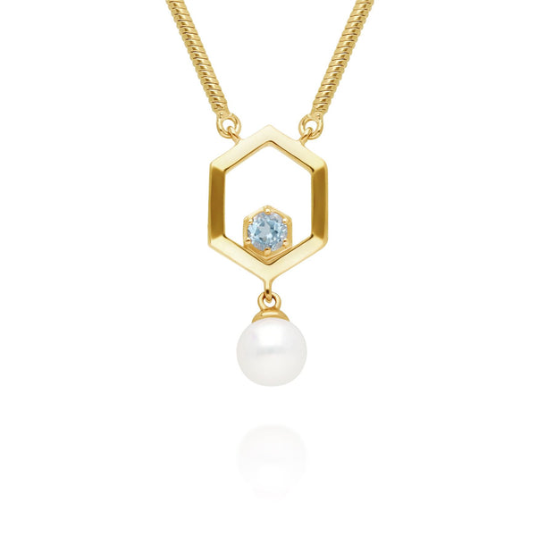 Modern Pearl & Aquamarine Hexagon Drop Necklace in Gold Plated Sterling Silver